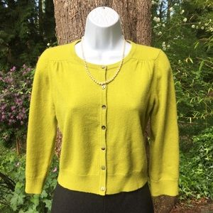 Boden Cashmere 3/4 Sleeve Cropped Cardigan Sweater
